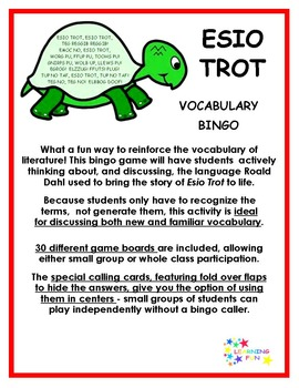 Esio Trot Vocabulary Bingo