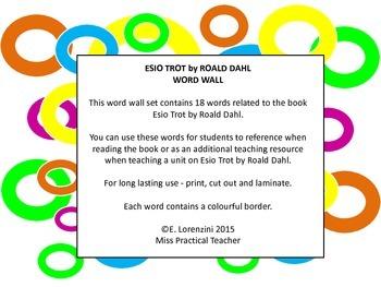 Esio Trot by Roald Dahl Word Wall