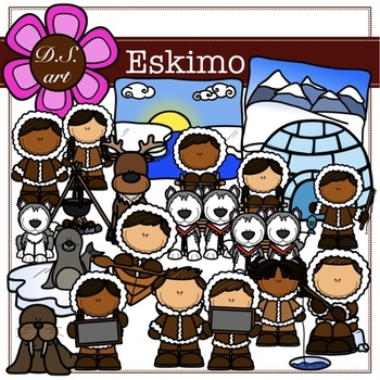 Eskimo Digital Clipart (color and black&white)