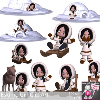 Eskimo Girl Color Clip Art Set CUOK