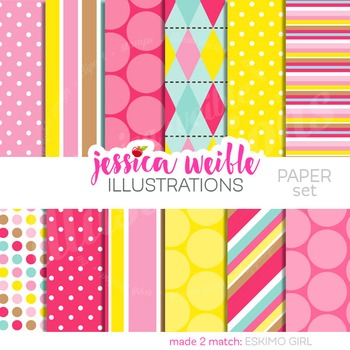 Eskimo Girl Matching Digital Papers, Pink Yellow Papers