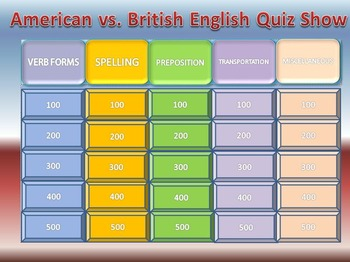 Esl Quiz Show: American vs. British English