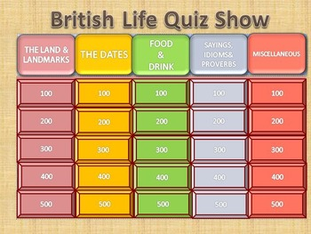 Esl Quiz Show: British Life