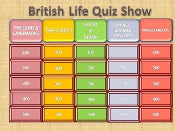 Esl Quiz Show: British Life