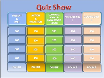 Esl Quiz Show: Elementary General Revision