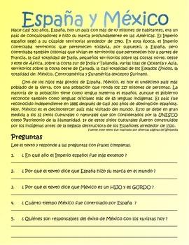 España y México (Spain and Mexico) – 4 Actividades   V.F.