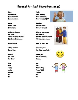 Espanol A y B Dia 1 Introducciones WS