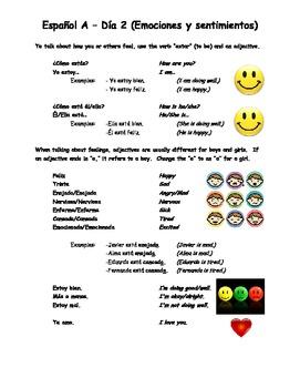 Espanol A y B Dia 2 Emociones y sentimientos WS