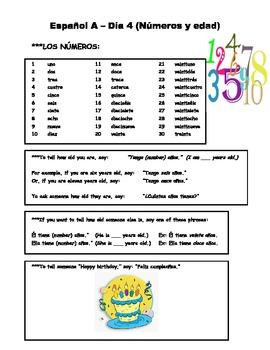 Espanol A y B Dia 4 Numeros y edad WS