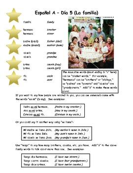 Espanol A y B Dia 5 La familia WS