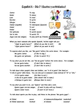 Espanol A y B Dia 7 Gustos y actividades WS