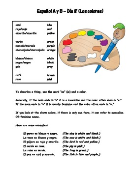 Espanol A y B Dia 8 Los colores WS