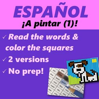 Español: A pintar, repaso de vocab. básico (Spanish: Coloring, vocab review)