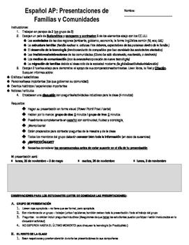 Español AP Familias y Comunidades _ Proyecto_ Presentaciones del Grupo