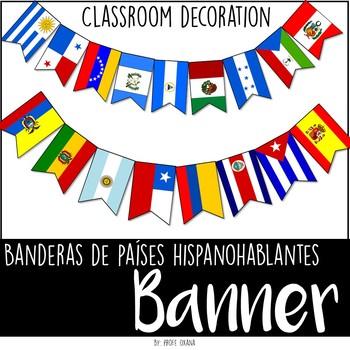 Español Banderas de Países hispanohablantes Classroom decor Banners Pennant