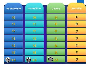 Español: Juego de repaso nivel 1. (Spanish: level 1 review. Jeopardy style game)