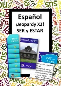 Español: Juegos de SER vs ESTAR. (Ser vs. Estar. TWO Jeopardy style games)