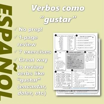 "Español: No prep 1-page review: Verbos como ""gustar"" (Spanish:Verbs like gustar)"