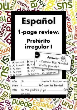 Español: No prep one page review: Irregular Preterit (Pretérito Irregular)