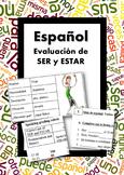 Español: SER vs ESTAR. Evaluación. (Editable assessment package)