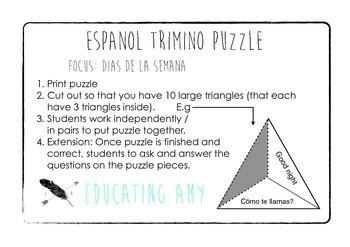 Espanol Trimino Puzzle - Dias de la semana