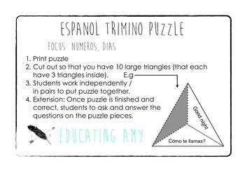 Espanol Trimino Puzzle - Numeros / Dias de la semana