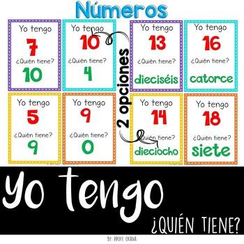 Español Yo tengo quién tiene {Números 0 - 19} I have who has