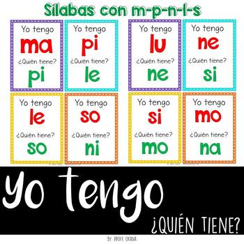 Español Yo tengo quién tiene {Sílabas con m, p, l, s, n} I have who has