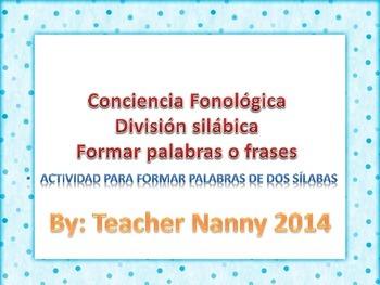 Español formar palabras conciencia fonológica