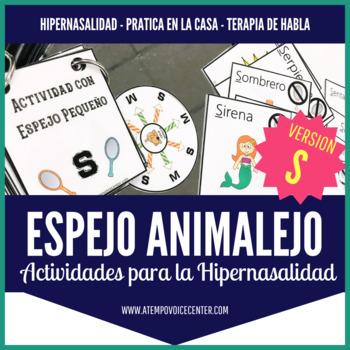 """Espejo Animalejo Actividad para Hipernasalidad Version """"S"""" Speech Therapy"""