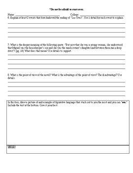 Esperanza Rising - 14 Assignment Reading Analysis and Test Pack