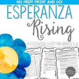 Esperanza Rising Novel Study Unit for Grades 4-8 Common Co