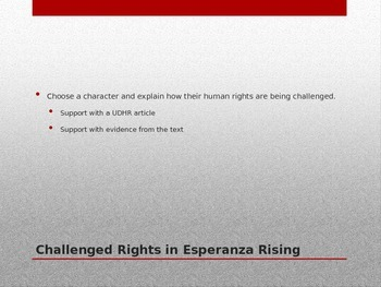Esperanza Rising Chapter 12  Writing Prompts