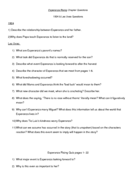 Esperanza Rising Chapter Questions and quizzes w/key