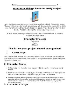 Esperanza Rising Character Study Writing Project