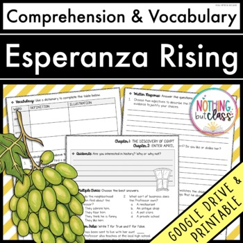 Esperanza Rising: Comprehension and Vocabulary by chapter