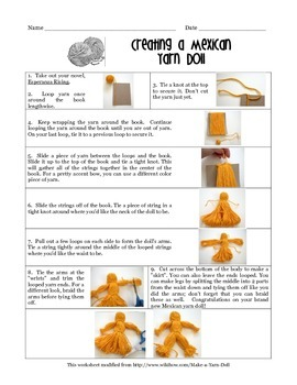 Yarn doll instructions, brazilian embroidery. Vintagereveries.