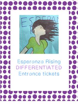Esperanza Rising Entrance Tickets (NYS ELA Module 1 Unit 2)