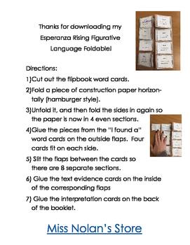 Esperanza Rising Figurative Language Foldable