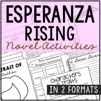 Esperanza Rising Novel Study Unit Activities, In 2 Formats