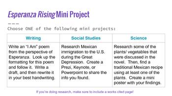 Esperanza Rising Mini Project