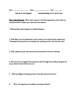 Esperanza Rising Novel Study, Quiz #2 (Las Papayas)