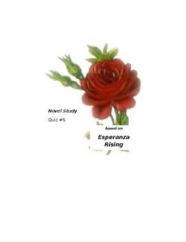 Esperanza Rising Novel Study, Quiz #6  (Las Ciruelas and L