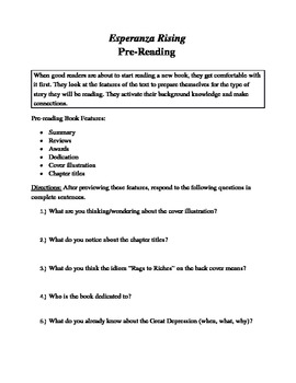 Esperanza Rising Pre-Reading