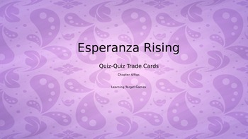 Esperanza Rising Quiz-Quiz Trade Cards for Figs