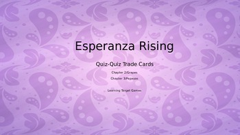 Esperanza Rising Quiz-Quiz Trade Cards for Grapes and Papayas