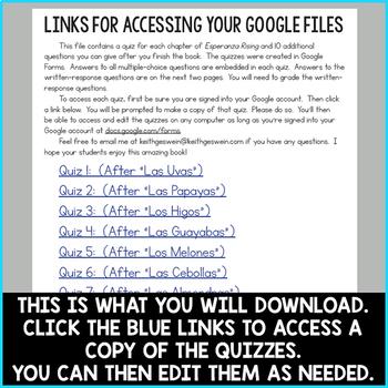 Esperanza Rising Quizzes for Google Classroom