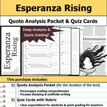 Esperanza Rising - Quote Analysis & Reading Quizzes