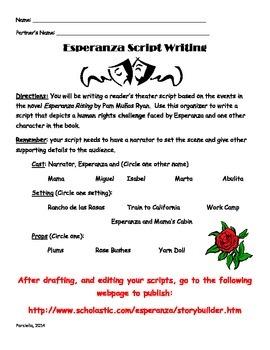 Esperanza Rising - Script Writing Graphic Organizer
