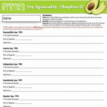 Esperanza Rising: Study Guide - Chapter 10 {Los Aguacates}